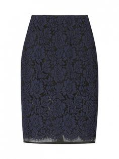 Lace and organza pencil skirt (black & blue). The REAL Reason Why You Feel Like You Have Nothing to Wear via @WhoWhatWear