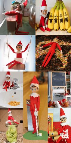 Love these elf on the shelf ideas! So much creative fun for kids and easy too! I've seen a lot of elf ideas, but these are too cute! Lots of last minute Elf on the Shelf ideas you can do quick on this list Funny Christmas Games, Funny Christmas Tree, Christmas Games For Kids, Christmas Elf, Christmas Humor, Christmas Crafts, Christmas Parties, Christmas Wrapping, Christmas Presents