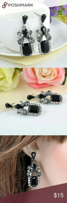 "Black Crystal Zircon Silver Plated Earrings Brand new   Size: approx 1 3/4 x 1/2""  Silver plated alloy ( lead and nickel free )  Stud closure Randomfindsboutique  Jewelry Earrings"