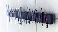 genious bathroom organization with FINTORP magnetic knife rack