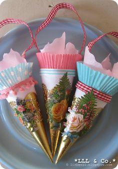 "Cones for Christmas... All my design!  D.I.Y. on my blog:  www.lisbetll.blogspot.com (search for. ""D.I.Y."" or ""Kræmmerhus"""