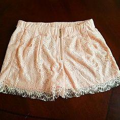 SALE Must Have Lace Shorts Beautiful lace shorts. Pair with a plain t-shirt flats or heels and accessories for a fabulous look. Brand new never worn tags are attached. Delicate peach color lace over peach bottom lining. Elastic waistband with a beautiful exposed front gold tone zipper. Must have Shorts