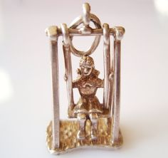 Vintage Silver Nuvo Girl on a Swing Bracelet Charm...love this!!!!!
