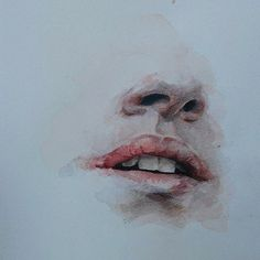 art, lips, and mouth image Watercolor Face, Watercolor Portraits, Watercolor Paintings, Nose Drawing, Drawing Faces, Gaspard, Dark Drawings, Bleach Pen, Deep Art
