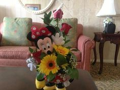 This is so cute! I have the mug and Minnie plush but never thought of floral arrangement ... Def doing it now!