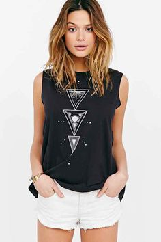 Truly Madly Deeply Sun Daze Muscle Tee- Washed Black