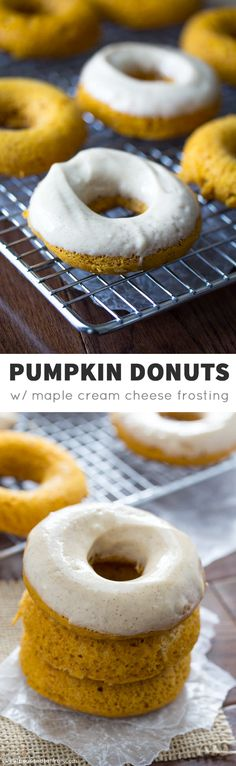 Baked Pupmkin Donuts with Cinnamon-Maple Cream Cheese Frosting @sweetpeasaffron
