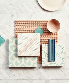 Confiserie Blush Chevron sample with Old Havana, East Haven, Cannes and Metro Deco sample tiles