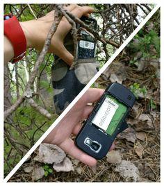 Nokia phone in a pocket, geocache inside.