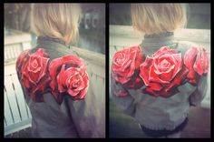 SOLD/ Red Roses - Hand-Painted Custom Vintage Leather Jacket, Size L on Etsy, $80.00