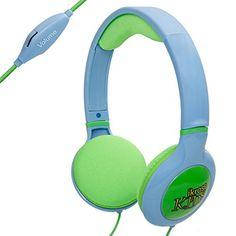 iKross Blue/Green Kid Safe Over the Ear Headphone w/ Padded Design & Volume Limiter for Kids Tablets