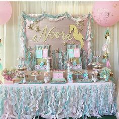 Gorgeous Mermaid dessert display!! Pic via @ronisugarcreations Events by @dessartdesigns #littlemermaid #sweets #inspiration #pastels #allthingspretty #storybookbliss #posh #partyideas #decorideas #mermaid