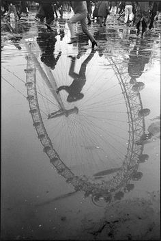 black and white photography, reflection, Ferris wheel