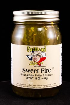 Sweet Fire Bread & Butter Pickles & Peppers - another new product, these are the next level in bread and butter pickles. With peppers added, they still have a sweet side, but with that extra kick.  #fatheadspices #breadandbutterpickles #sweetfire #food #cooking #bbq #pickles