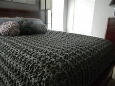 96 x 84 Giant Super Chunky Knit Blanket  Queen size  by LuckyHanks, $495.00