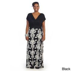 4089d076fa878 Hadari Woman s Plus Size Two-tone Damask Short Sleeve Maxi Dress
