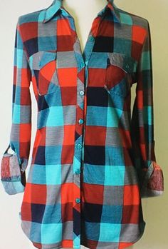"Ummm, Yes! Mad For Plaid Mint and Red Flannel Shirt. Button Up and Roll Up Tab Sleeves. Fits True to Size. 100% Poly. I'm 5'10"", 145 Pounds and Wear a Medium."