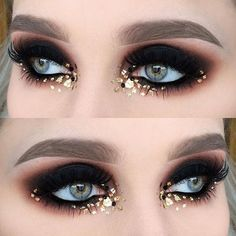 Best Black and Gold Eye Makeup Looks-Black and gold makeup always gives me some Egyptian vibes. I see such looks and imagine ancient pharaohs and gorgeous divine priestesses. And that makeup absolutely loved by modern girls Gold Eye Makeup, Eye Makeup Art, Glitter Makeup, Beauty Makeup, Hair Makeup, Gold Glitter, Metallic Makeup, Makeup Lips, Gorgeous Makeup