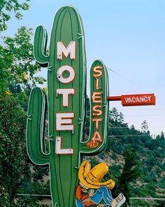 fine art photo of The Siesta Mote signl, Durango, Colorado, fine art photography by archivist Martin Garfinkel FIESTA MOTEL Old Neon Signs, Vintage Neon Signs, Old Signs, Roadside Signs, Roadside Attractions, Advertising Signs, Vintage Advertisements, Retro Signage, Retro Wallpaper