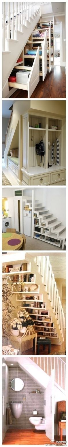 """I always hated all the wasted space under stairs.especially like the open shelves & the bed (great for a guest """"room"""" spot under stairs in a finished basement) & the.well guess I really like them all! Wish I had stairs! Stair Storage, Staircase Storage, Staircase Ideas, Storage Shelves, Open Shelves, Hidden Storage, Stair Drawers, Basement Storage, Basement Decorating"""