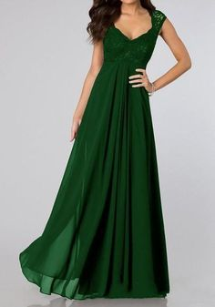 365438891d1 Green Lace Spliced Pleated Scoop Neck Elegant Chiffon Maxi Dress