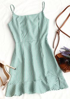 This mini slip dress features a plaid pattern throughout and a ruffled hemline with adjustable straps in a back zip fastening. Style: Fashion Occasion: Day Material: Cotton Silhouette: A-Line Dresses Length: Mini Sexy Dresses, Cute Dresses, Dress Outfits, Casual Dresses, Casual Outfits, Fashion Dresses, Mini Dresses, Skater Outfits, Green Dress Casual