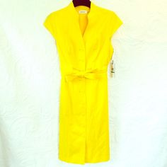 NWT Calvin Klein Sunray Yellow Dress!  Gorgeous brand new with tags Calvin Klein sunray yellow dress! Size 8. Please feel free to ask any and all questions! Thanks!! Calvin Klein Dresses Midi