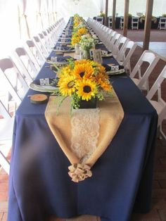 We love the idea of a picnic themed reception! We have chairs, tables, linens and table runners to help create this look!