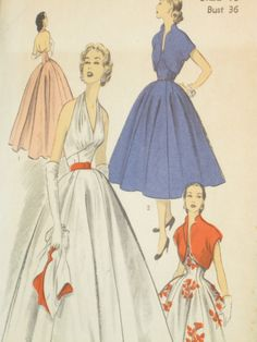 Formal HalterTop Vintage Women's Dress Pattern by EmSewCrazy I need a sewing machine in my life!!