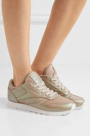 Classic iridescent leather sneakers