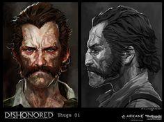 Dishonored-Thugs01, Cedric Peyravernay on ArtStation at https://www.artstation.com/artwork/DAzBE