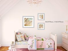 Spring Pink Blooms Photography 2 10x10 Prints, 1 20x20 Print Pink Spring Trees, Girl's Room Decor, Bedroom Decor on Etsy, $165.00