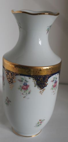 Imperia Limoge France Porcelain 22k Gold Accents Large Vase - Other Limoges Collectibles