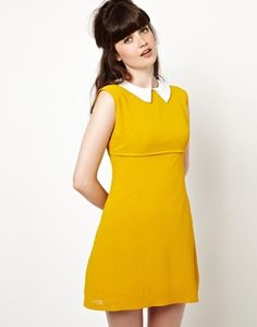 Pop Boutique Coco Sleeveless Dress with Collar Let's talk about Mustard.