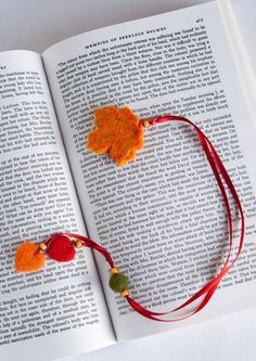 Needle Felted Wool Fall Autumn Orange Leaf Bookmark Sculpture Wool Ribbon Decor Present Decoration Miniature Collection Ready to Ship $12.0...