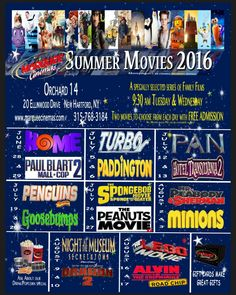 2016 Free Movie Schedule New Hartford, NY