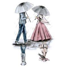 kumpulan kartun romantis parf 3 - my ely Cute Couple Drawings, Cute Couple Art, Anime Love Couple, Couple Cartoon, Girl Cartoon, Cartoon Art, Cartoon Images, Cute Muslim Couples, Muslim Girls