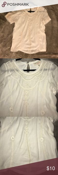 "Two by Vince Camuto light weight beaded shirt top Beaded and stitched design. Flowy light weight. Total length 24"". Two by Vince Camuto Tops Tees - Short Sleeve"