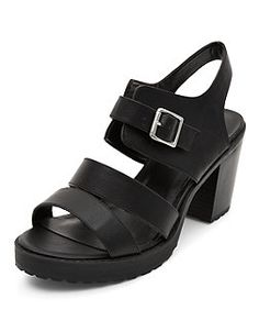 Black Strappy Buckle Front Block Heel Sandals | New Look