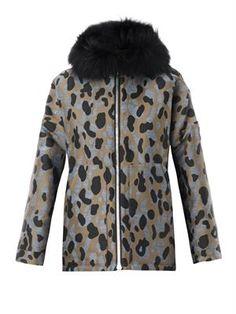 Moncler Gamme Rouge - Camo-jacquard fur-trim down coat - $2920