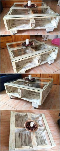 If you have been thinking about designing a modern looking table design, then do consider choosing the alternative of the wood pallet material for this purpose. Here we have the perfect image example for you! It do add the comprising glass top effect in it as well.