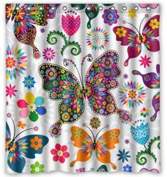 """Fabulous Store Custom Fashionable Design butterfly Background Waterproof Polyester Fabric Shower Curtain 66""""X72"""""""