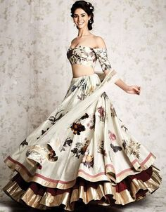 off-white printed layered lehenga choli
