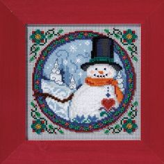 """JS149102 - Southern Snowman by Jim Shore (2009) - Mill Hill - Jim Shore Kits - Winter Series Kit Includes: Beads, 14ct perforated paper, needles, floss, chart and instructions.  Mill Hill frame GBFRM9 sold separately Size: 5"""" x 5"""""""