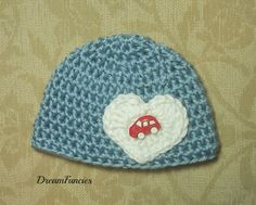 Baby Boy Hat, Blue Baby Beanie with Red Car Button, Blue Newborn Hat, Baby Boy, Crochet Baby Hat, Newborn Prop, Ready to Ship by dreamfancies on Etsy