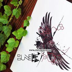 Raven trash polka geometric tattoo deasign illustration bunette skinque