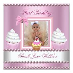 Make your own style with this Birthday Girl Pink Cupcakes White Pearl Baby Personalized Announcements. Just add your photos and words to this design. It's easy and fun. 1st Birthday Invitations Girl, Baby Girl 1st Birthday, Baby Invitations, 1st Birthday Parties, Invites, Cupcake Birthday, Birthday Ideas, Birthday Star, Baby Pearls
