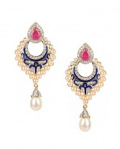 Pearl and Zircon Earrings with Pink Stone Top