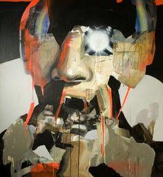 VIljami Heinonen - Failure of Structures, 2014, akryyli, spray ja kollaasi kankaalle, 150 x 140 cm (Saastamoisen säätiön taidekokoelma)