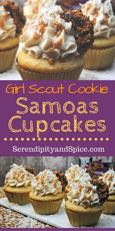 Girl Scout Samoas Cupcake Recipe ~ the most delicious cupcake recipe-- with caramel, coconut, and chocolate! http://serendipityandspice.com